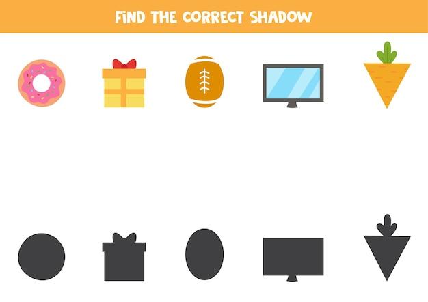 Encontre as sombras corretas de objetos geométricos. quebra-cabeça lógico para crianças.