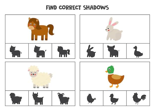 Encontre as sombras corretas dos animais da fazenda. cartões de clipe para crianças em idade pré-escolar.