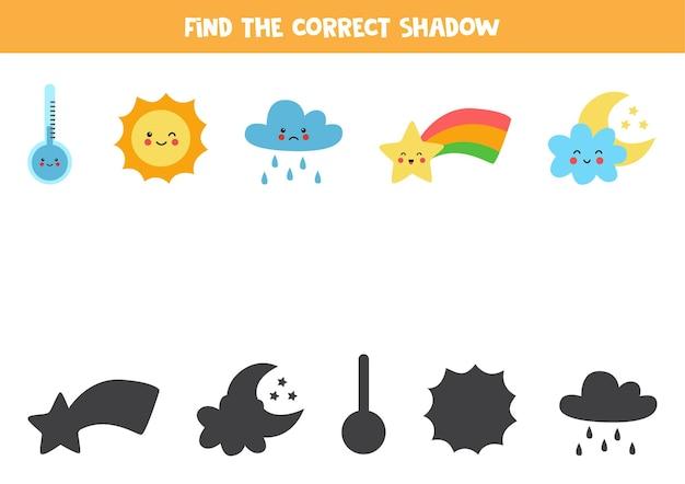 Encontre as sombras corretas dos elementos climáticos. jogo lógico para crianças pré-escolares. Vetor Premium