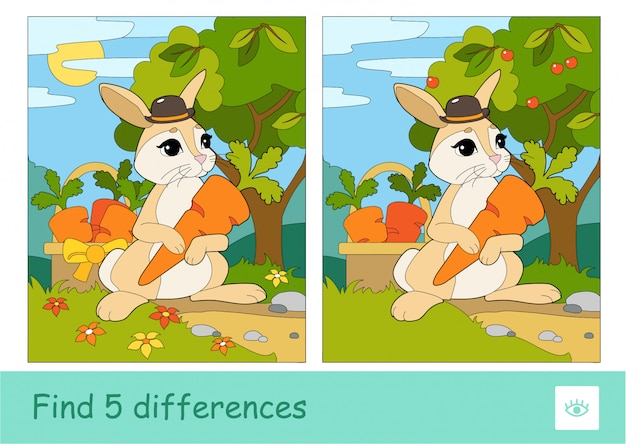Encontre cinco diferenças de teste de aprendizagem de jogos infantis com coelhinha de chapéu colhendo cenouras em uma cesta em um bosque.