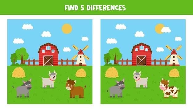 Encontre cinco diferenças entre as imagens. paisagem de terras agrícolas com animais.