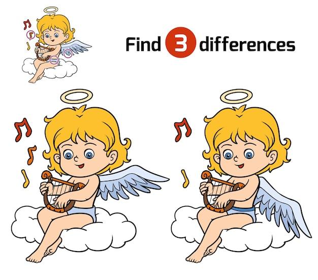 Encontre diferenças, jogo de educação para crianças, angel