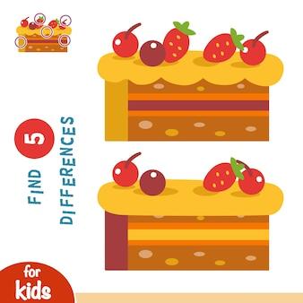 Encontre diferenças, jogo de educação para crianças, bolo com frutas