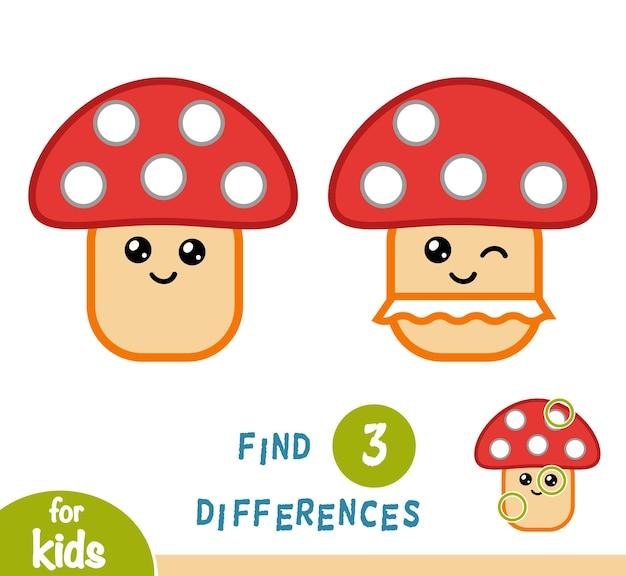Encontre diferenças, jogo de educação para crianças, cogumelo amanita