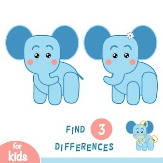 Encontre diferenças, jogo de educação para crianças, elefante