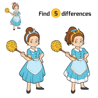 Encontre diferenças, jogo de educação para crianças, empregada doméstica