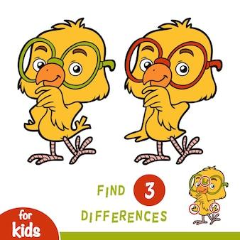 Encontre diferenças, jogo de educação para crianças, frango