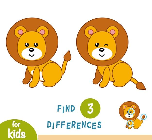 Encontre diferenças, jogo de educação para crianças, leão