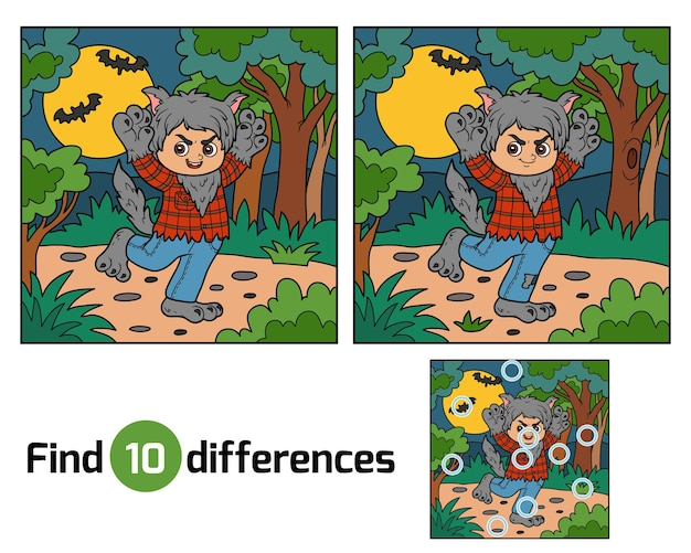 Encontre diferenças jogo de educação para crianças, lobisomem