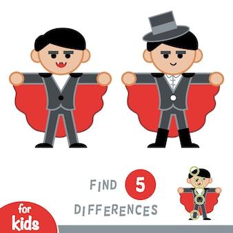 Encontre diferenças, jogo de educação para crianças, vampiro