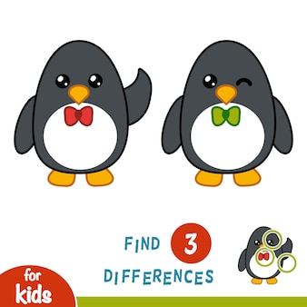 Encontre diferenças, jogo educacional para crianças, penguin