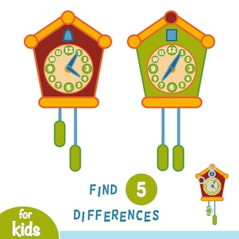 Encontre diferenças, jogo educacional para crianças, relógio cuco
