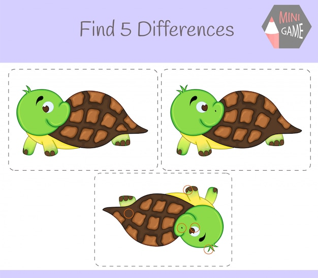 Encontre diferenças, jogo educativo para crianças. tartaruga. animais na fazenda