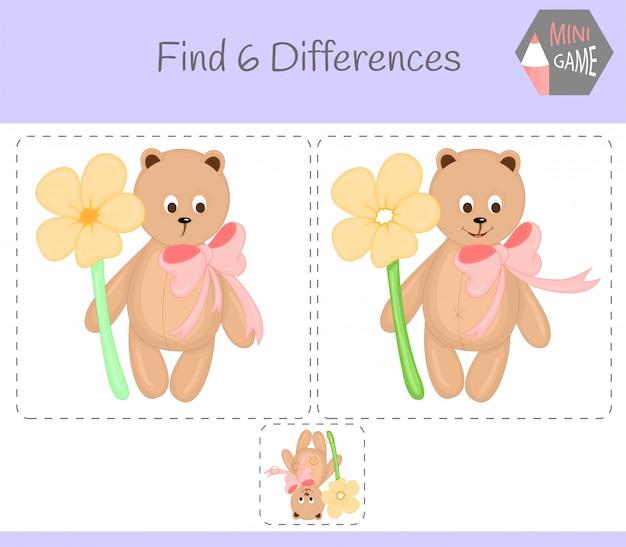 Encontre diferenças, jogo educativo para crianças. urso.