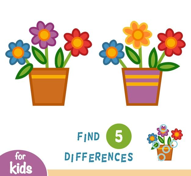 Encontre diferenças, jogo educativo para crianças, vaso de flores
