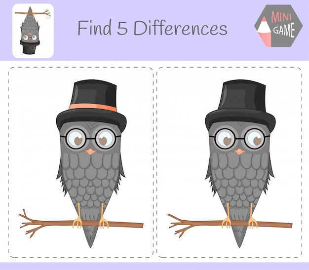 Encontre diferenças, jogo educativo para crianças