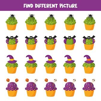 Encontre diferentes cupcake de halloween. jogo lógico educativo para crianças. folha de trabalho para impressão.