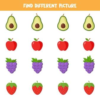Encontre diferentes frutas ou bagas de desenhos animados em cada linha. jogo lógico para crianças pré-escolares.