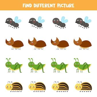 Encontre diferentes imagens de insetos jogo de lógica educacional para crianças 1