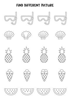 Encontre diferentes imagens de verão em preto e branco em cada linha. jogo lógico para crianças pré-escolares.