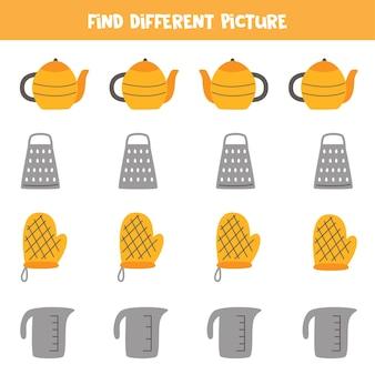 Encontre diferentes utensílios de cozinha em cada linha. jogo lógico para crianças pré-escolares.