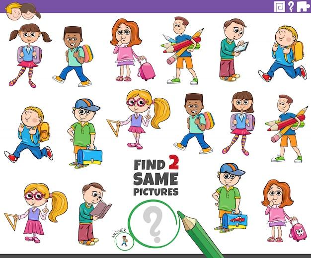 Encontre dois alunos mesmos tarefa de personagens infantis