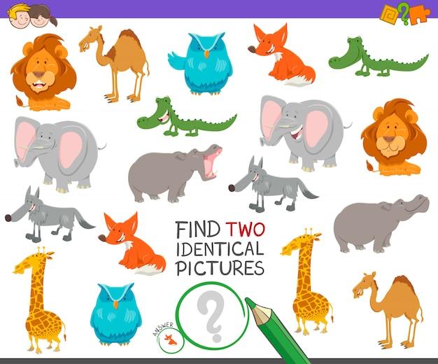 Encontre dois animais idênticos jogo educativo