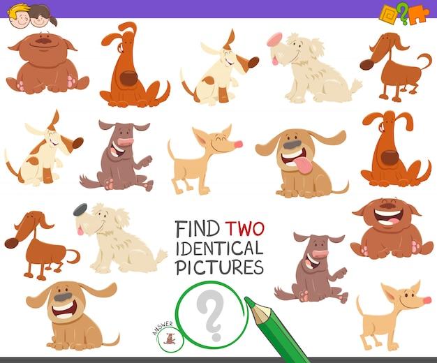 Encontre dois cães idênticos jogo educativo para crianças