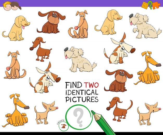 Encontre dois cães idênticos jogo educativo