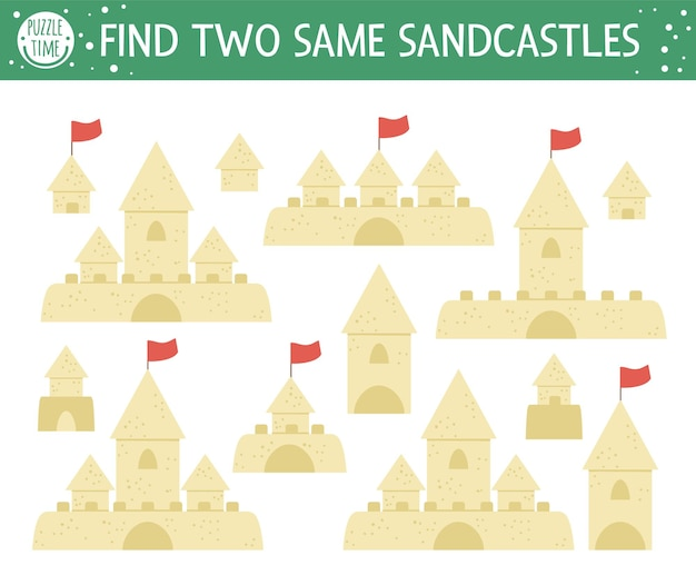 Encontre dois castelos de areia iguais