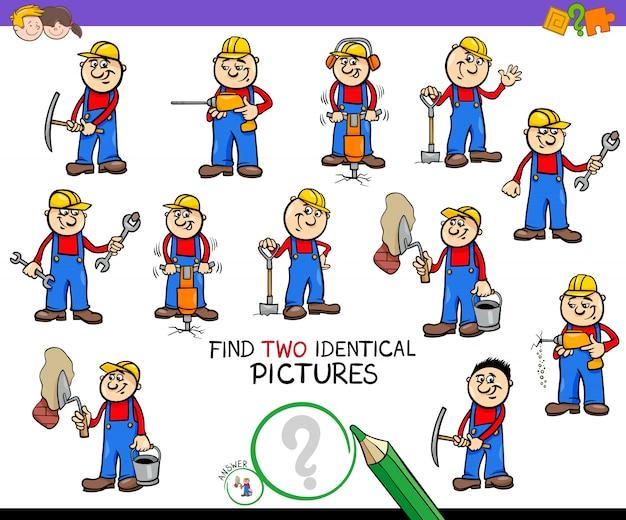 Encontre dois jogo de trabalhadores idênticos para crianças