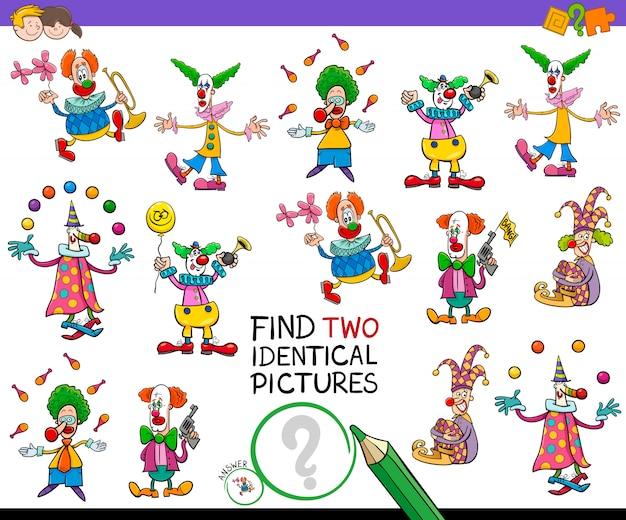 Encontre dois jogos de palhaços idênticos para crianças