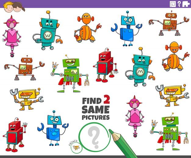 Encontre dois jogos de personagens de robôs iguais para crianças