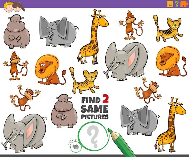 Encontre dois mesmos personagens de animais para crianças