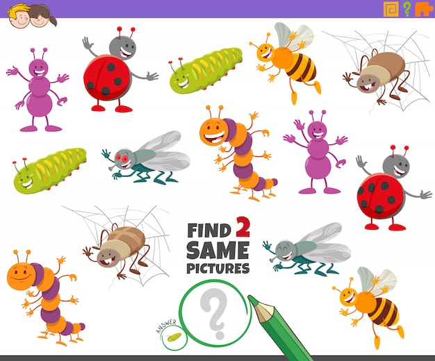 Encontre dois mesmos personagens de insetos para crianças
