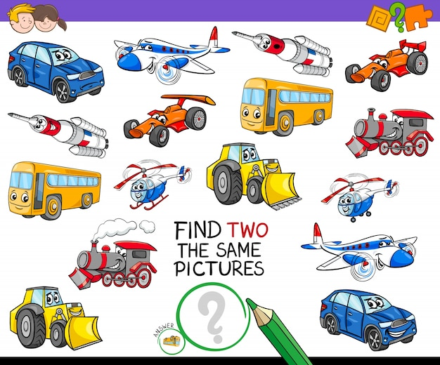 Encontre dois o mesmo jogo de atividade de veículos