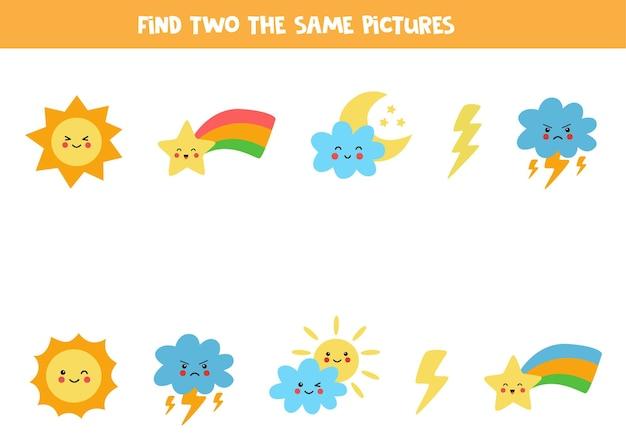 Encontre dois objetos meteorológicos idênticos. jogo educativo para crianças em idade pré-escolar.