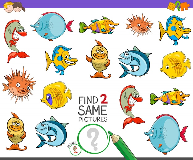 Encontre dois personagens de peixes iguais para crianças