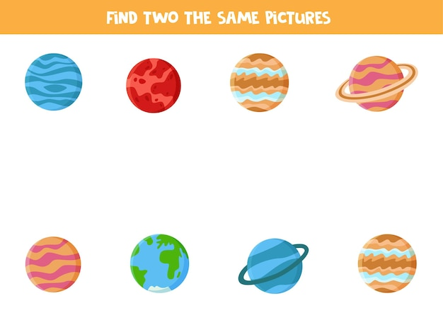 Encontre dois planetas idênticos do sistema solar. jogo educativo para crianças em idade pré-escolar.