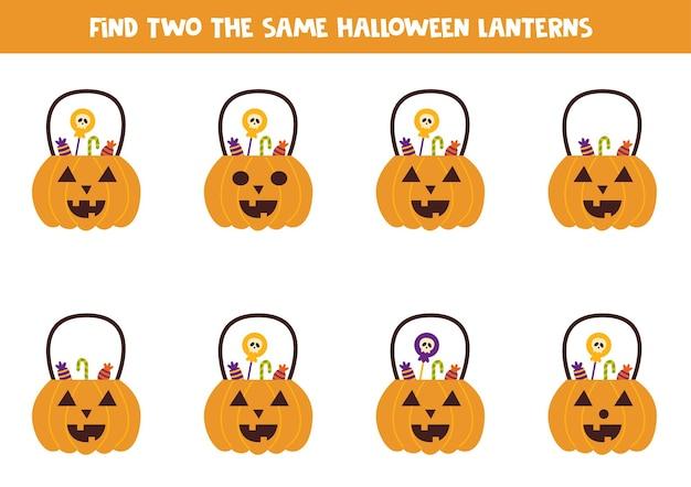 Encontre duas abóboras de halloween idênticas com doces. jogo educativo para crianças em idade pré-escolar.