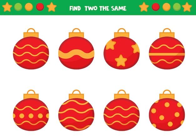 Encontre duas bolas de natal iguais. jogo educativo para crianças. planilha para crianças em idade pré-escolar.