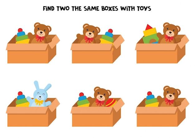 Encontre duas caixas de brinquedos iguais.