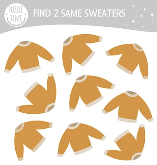 Encontre duas camisolas iguais. atividade de correspondência de inverno para crianças em idade pré-escolar.