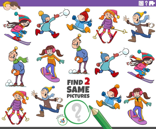 Encontre duas crianças de desenho animado no jogo educacional de inverno