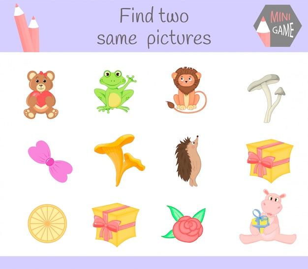 Encontre duas fotos iguais. atividades educacionais da ilustração do vetor dos desenhos animados para crianças prées-escolar.
