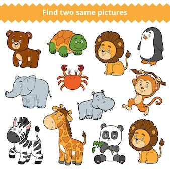 Encontre duas imagens idênticas, jogo educacional para crianças, conjunto de vetores de animais do zoológico