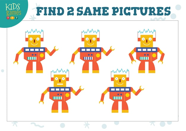 Encontre duas mesmas imagens de ilustração de jogos infantis