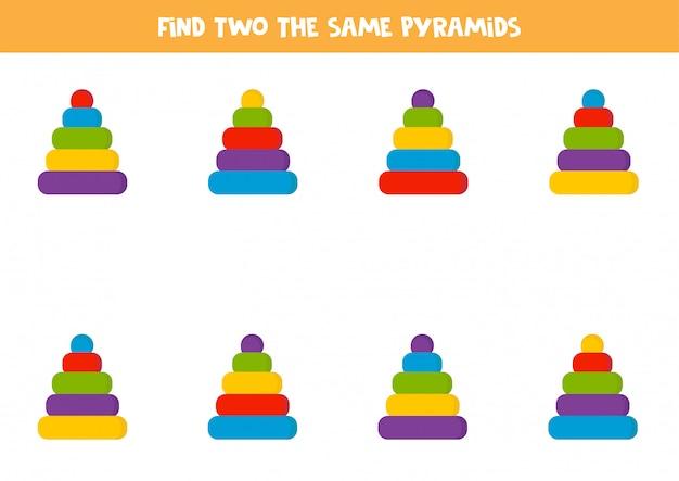 Encontre duas pirâmides de brinquedo idênticas. planilha educacional lógica para crianças.
