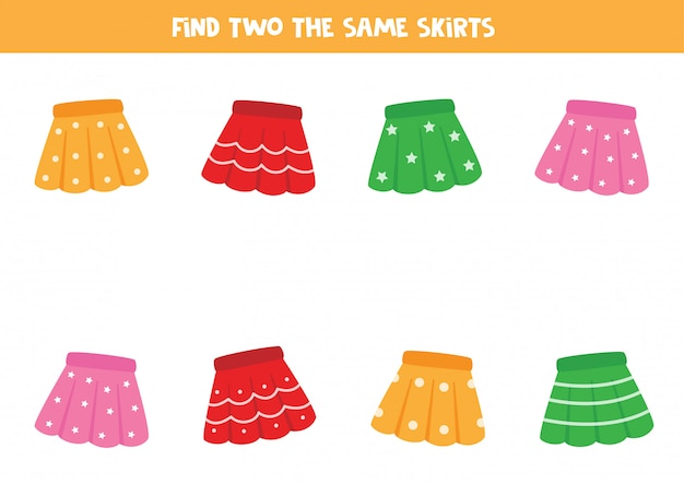 Encontre duas saias de menina idênticas. jogo lógico para crianças.