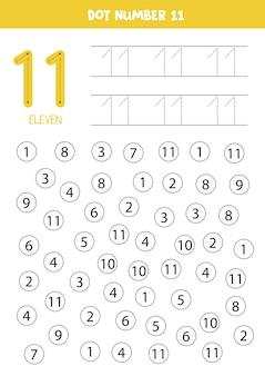 Encontre e coloque o número onze. aprendizagem número 11 com crianças. planilha educacional.